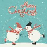 Ice skating cartoon snowmen. Vector Christmas card, two ice skating cartoon snowmen Stock Illustration