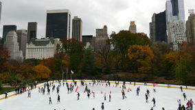 Ice skating  in Central Park NYC stock video