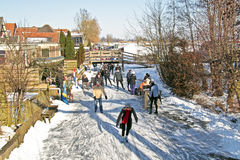 Ice skating in the countryside from Netherlands Stock Image
