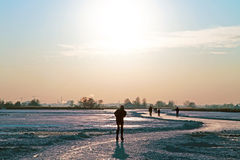 Ice skating in the countryside from the Netherlands Stock Photography