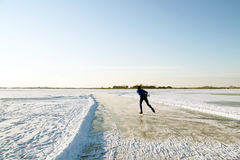 Ice skating in the countryside from the Netherlands Stock Images