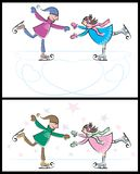 Ice-skating Couple. Boy and girl skating on ice. Below is another version of the same illustration Royalty Free Stock Image