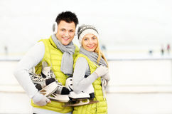 Ice skating couple Royalty Free Stock Photo
