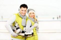 Ice skating couple Royalty Free Stock Photo