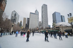 Ice skating in downtown Chicago Stock Photo