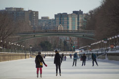 Ice skating on the frozen Rideau Canal Ottawa Winterlude Royalty Free Stock Image