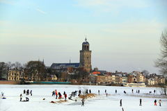 Ice skating fun winter netherlands stock image