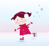 Ice skating girl. Small girl with big smile on ice. Vector cartoon illustration Royalty Free Stock Photo