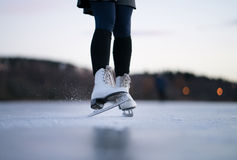 Ice Skating. Girl Ice Skating in Norway Stock Photos