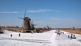 Ice skating in Holland Stock Images
