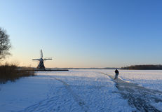 Ice skating in Holland Stock Image