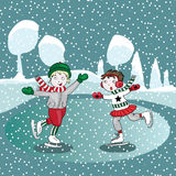 Ice skating kids in the winter. Vector illustration. Hand drawn ice skating kids in the winter. Vector illustration on blue snowing background royalty free illustration