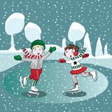 Ice skating kids in the winter. Vector illustration on turquoise background. Hand drawn ice skating kids in the winter with little snow falling down. Vector vector illustration