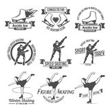 Ice Skating label logo set. Ice Skate label logo design. Ice skating boot, speed scating, figure skating. Winter sports. Retro logo design. Old school sport logo Royalty Free Stock Photos