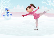 Ice skating little girl and snowball Royalty Free Stock Images