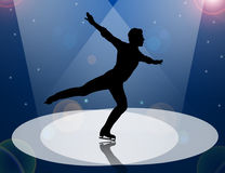 Ice Skating man in Spotlight. Male Figure ice Skater silhouetted in Spotlights on blue background illustration Royalty Free Stock Image