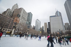 Ice skating in Millenium park, Chicago Royalty Free Stock Photography