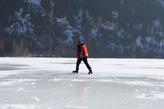 Ice Skating on mountain like Royalty Free Stock Images