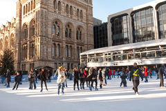 Ice Skating at the Natural History Museum Stock Photo