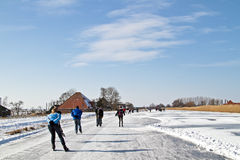 Ice skating the Netherlands Stock Photo