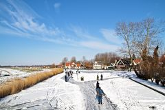Ice skating the Netherlands Stock Image