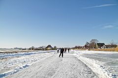 Ice skating in the Netherlands Stock Photography