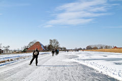 Ice skating in the Netherlands Royalty Free Stock Images