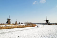 Ice skating in the Netherlands Royalty Free Stock Photo