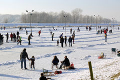 Ice skating in the Netherlands Stock Images