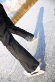Ice skating outdoors pond freezing winter Royalty Free Stock Photos