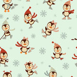 Ice skating penguins seamless pattern Royalty Free Stock Images