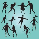 Ice skating people. Silhouettes. Set of vector illustrations of people doing sport Royalty Free Stock Image