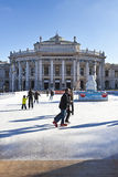 Ice skating people at the Wiener Eistraum in Vienna Stock Images