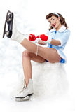 Ice Skating pin-up Woman Royalty Free Stock Photography
