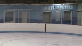 Ice skating rental sign at rink stock footage