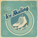Ice skating retro card. Ice skating card in retro style with blue background Royalty Free Stock Photos