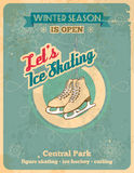 Ice skating retro poster. Winter season is open, so lets ice skate Royalty Free Stock Photography