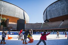 Ice skating ring outside the Auditorium Parco della Musica Stock Images