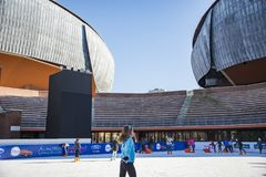 Ice skating ring outside the Auditorium Parco della Musica Stock Photography