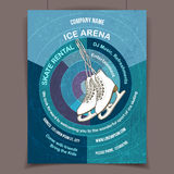 Ice skating rink advertising poster. Ice arena invites to ice skating, advertising poster template Stock Photos