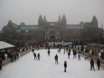 The ice skating rink and Amsterdam sign behind the Rijskmuseum, Netherlands stock photo