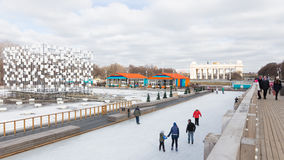 Ice skating rink in Central Park Stock Photo