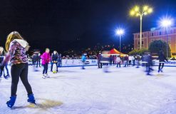 Ice skating rink at Christmas fair in Como, Italy Royalty Free Stock Images
