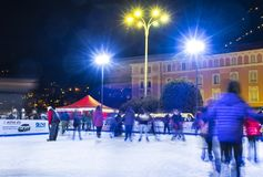 Ice skating rink at Christmas fair in Como, Italy Royalty Free Stock Photography