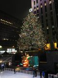 Ice Skating Rink and Christmas Tree in front of Rockefeller Center. Royalty Free Stock Photos