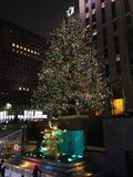 Ice Skating Rink and Christmas Tree in front of Rockefeller Center. Royalty Free Stock Image