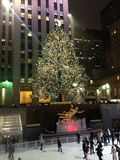 Ice Skating Rink and Christmas Tree in front of Rockefeller Center. Royalty Free Stock Photography