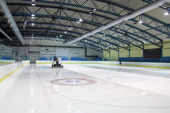 Ice skating rink. Ice resurfacer clean ice in skating rink Stock Image