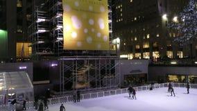 Ice skating rink Rockefeller Center stock video footage