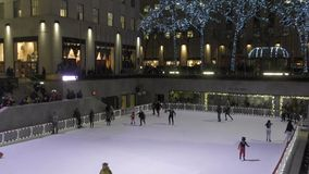 Ice skating rink Rockefeller Center stock footage